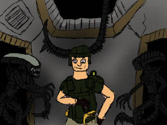 marine and xenomorphs by Plague-death