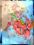 Rogue vs Deadpool by Keatopia colored