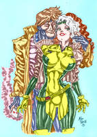 Rogue and Gambit Alan patrick in color by GordonAlyx
