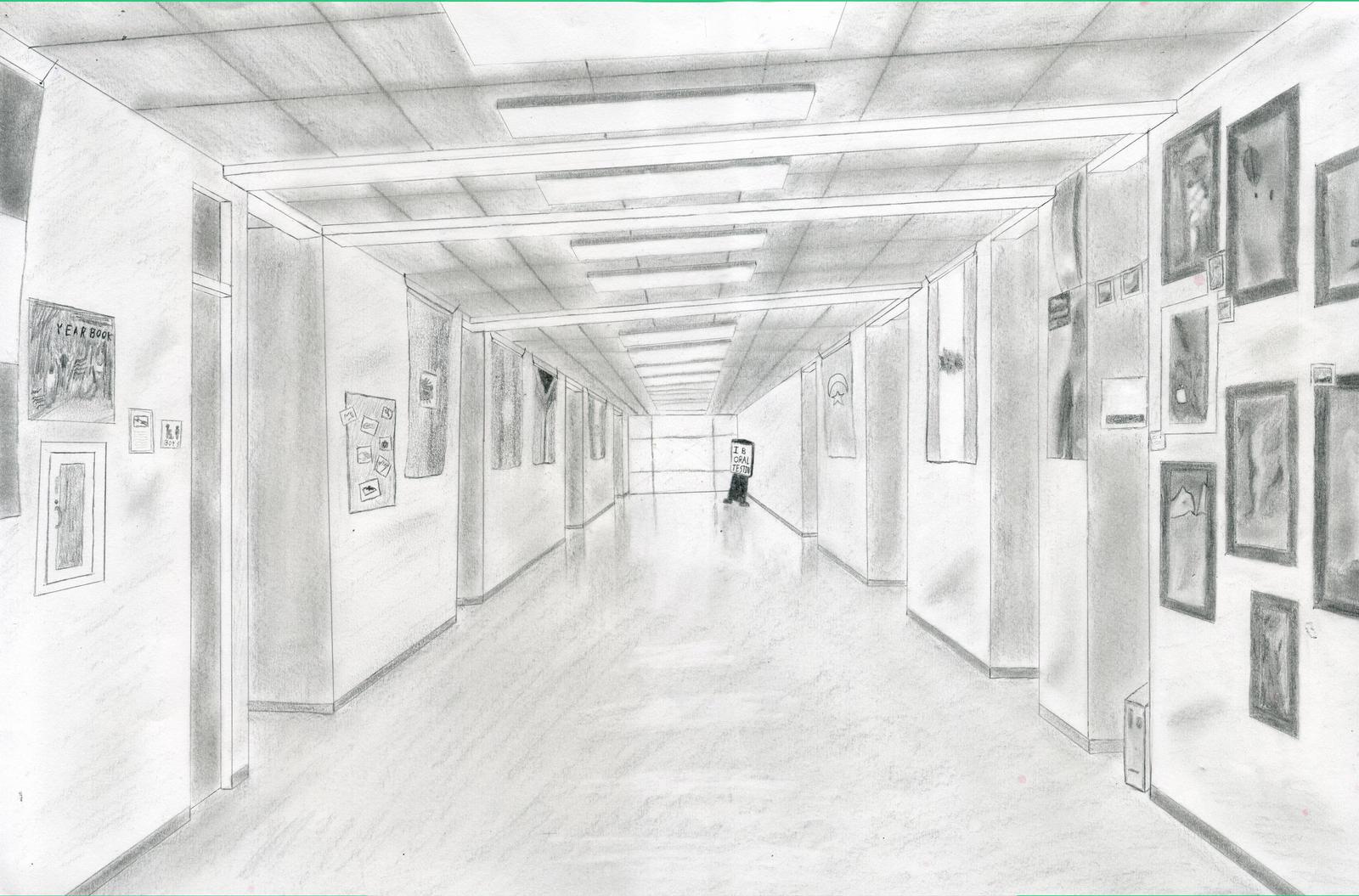 school hallway drawing - HD1600×1055