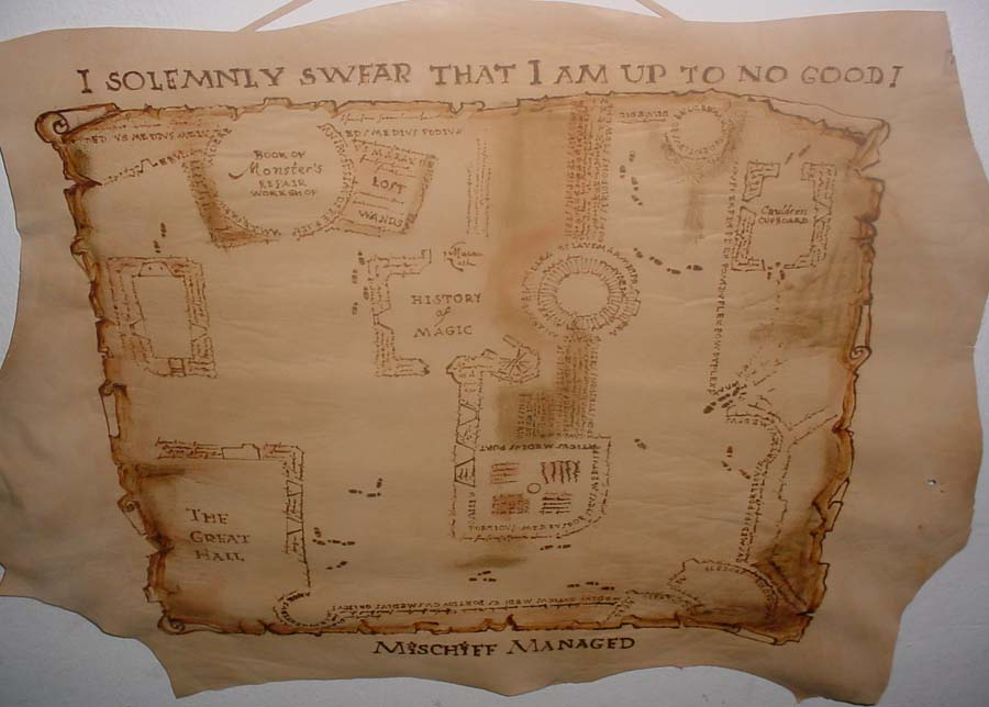 marauders map leather hanging by foxalbiazul