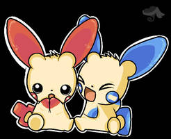 Minun and Plusle by turtwigturt