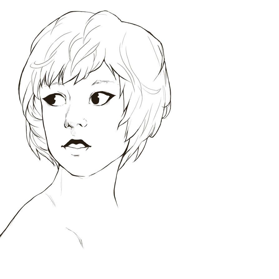 short hair lineart by mizu kyuu on deviantart
