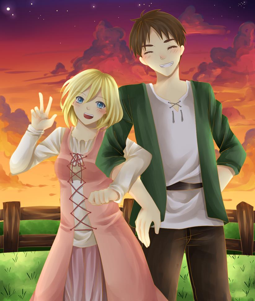 Historia and Eren by desidestia