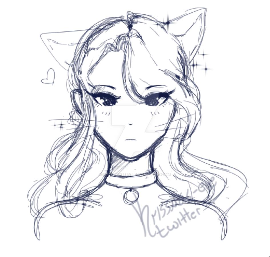 cat girl drawing