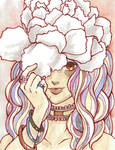 Watercolor - Girl with Carnation Hat