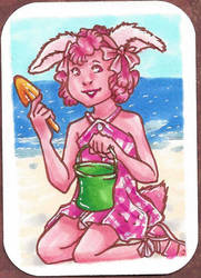 Pink Bunbun at Beach by Doodlebotbop
