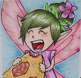 Fairy eating Pizza