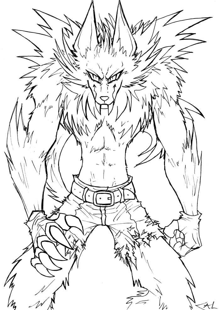 Werewolf lineart by Strixic on DeviantArt