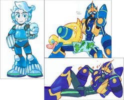 Ice Man and Wave Man colour sketches