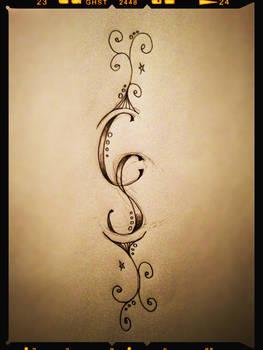 Initials and swirls