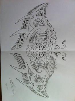 Polynesian manta ray tattoo