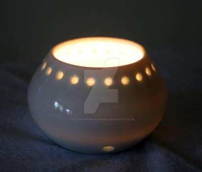 OOAK Ceramic White Pot Luminary