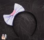 Spooky Kei Pastel Goth Lavender Bat-Bow Headband