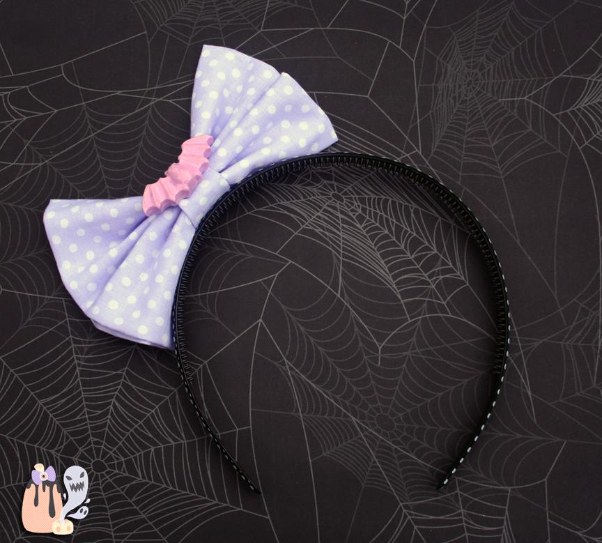Spooky Kei Pastel Goth Lavender Bat-Bow Headband by 1stQueenOfHalloween