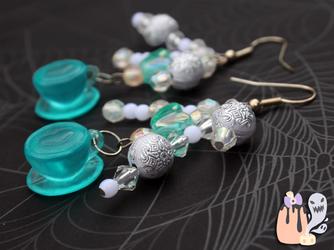 Kawaii Fairy Kei Blue Tea Cup Dangle Earrings by 1stQueenOfHalloween