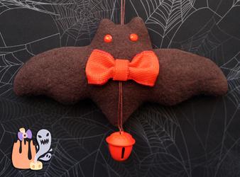 Rustic Simplistic Halloween Orange Bat Door Dangle by 1stQueenOfHalloween