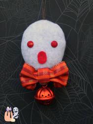 Rustic Simplistic Orange Ghost Halloween Dangle by 1stQueenOfHalloween