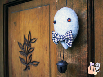 Rustic Halloween Light Grey Ghost Dangle by 1stQueenOfHalloween