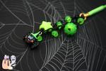 Acid Green Kawaii Halloween Spider Cellphone Charm by 1stQueenOfHalloween