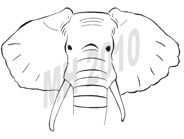Line Drawing Elephant Face : Elephant face line drawing
