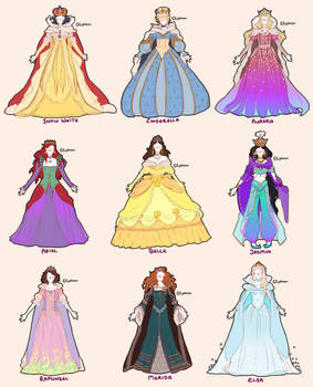 finished concept art - disney princesses as queens