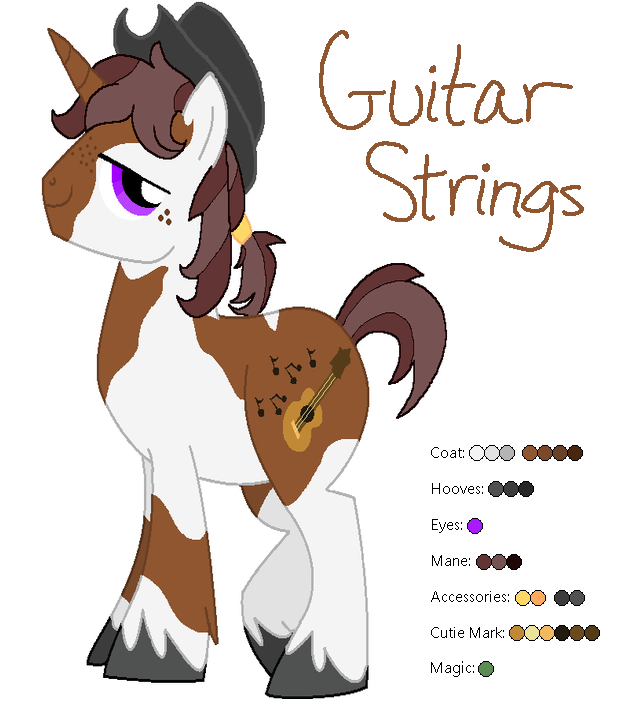 Guitar Strings the Unicorn - MLP:FIM OC by zafara1222