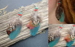 Turquoise Sea Feather Earrings