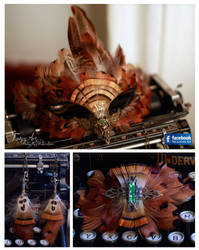 Steampunk Falcon Mask with Earrings and brooche