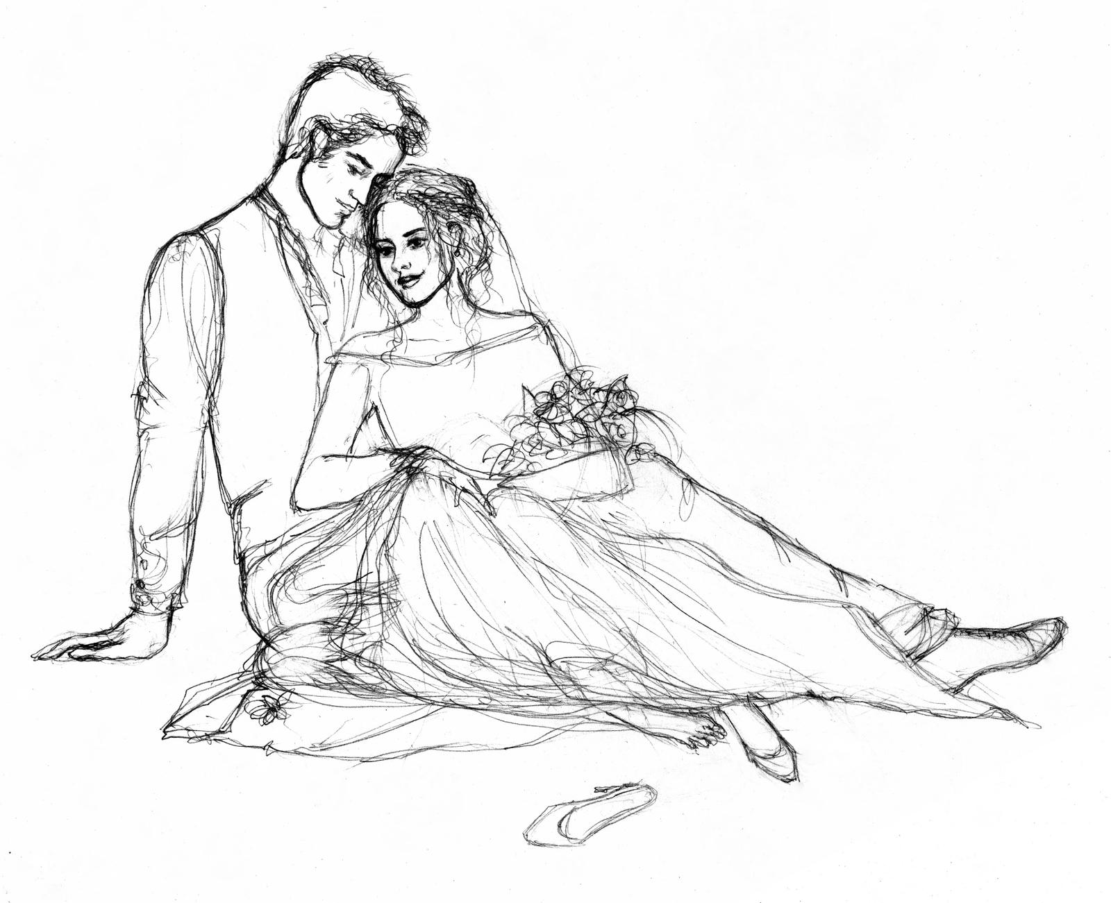 Line Drawing Wedding Couple : Wip just married by littleseasparrow on deviantart