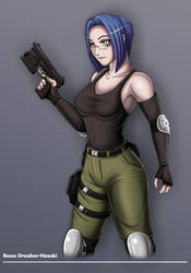 Reese with Heckler and Koch Mark 23 Pistol