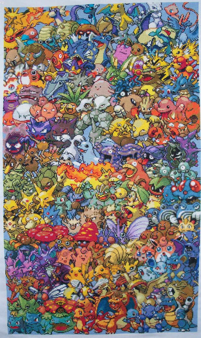 Epic Pokemon Generation 1 Cross Stitch Complete by lizardlea