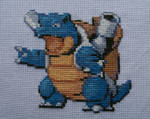 Blastoise Pokemon Cross-Stitch