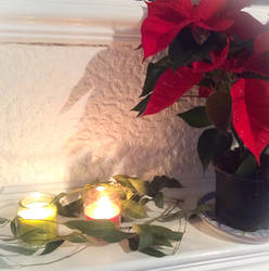 Candles And Poinsettia
