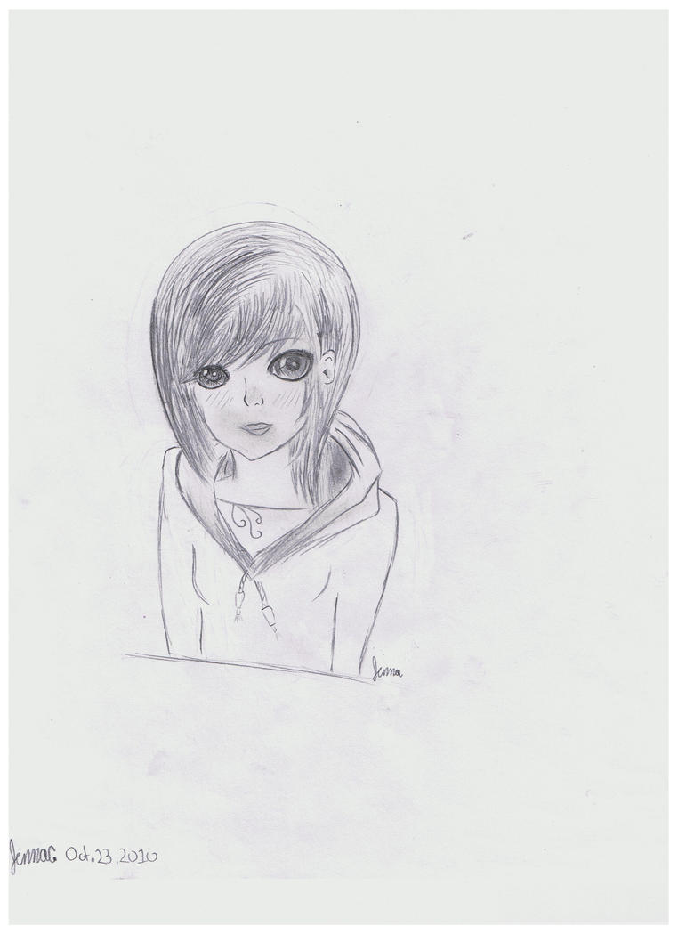 Manga girl in Hoodie Drawing by Ruby2332How To Draw Anime Girl With Hoodie