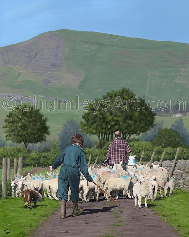 Riding House Farm Digital Painting by ChumleysArt