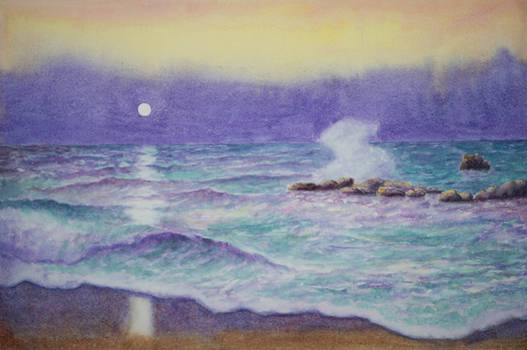 Seascape in yellow and purple