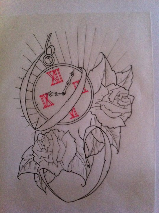 Clock Tattoo Piece by booders9 on DeviantArt
