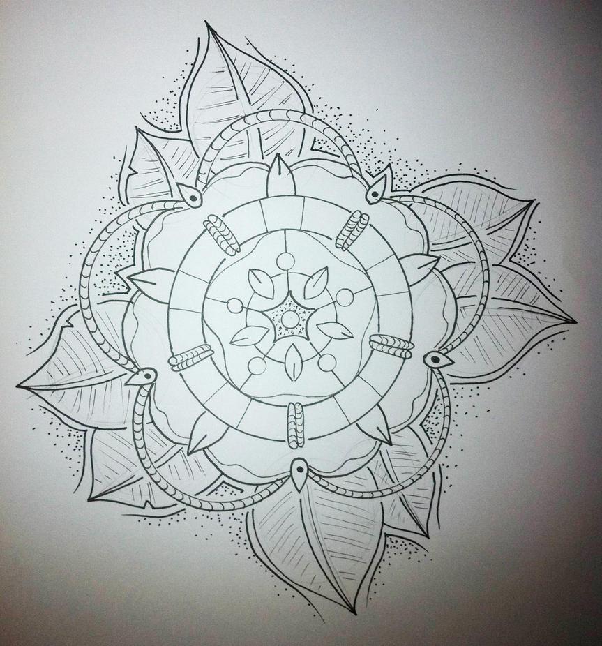 Old school flower tattoo desig