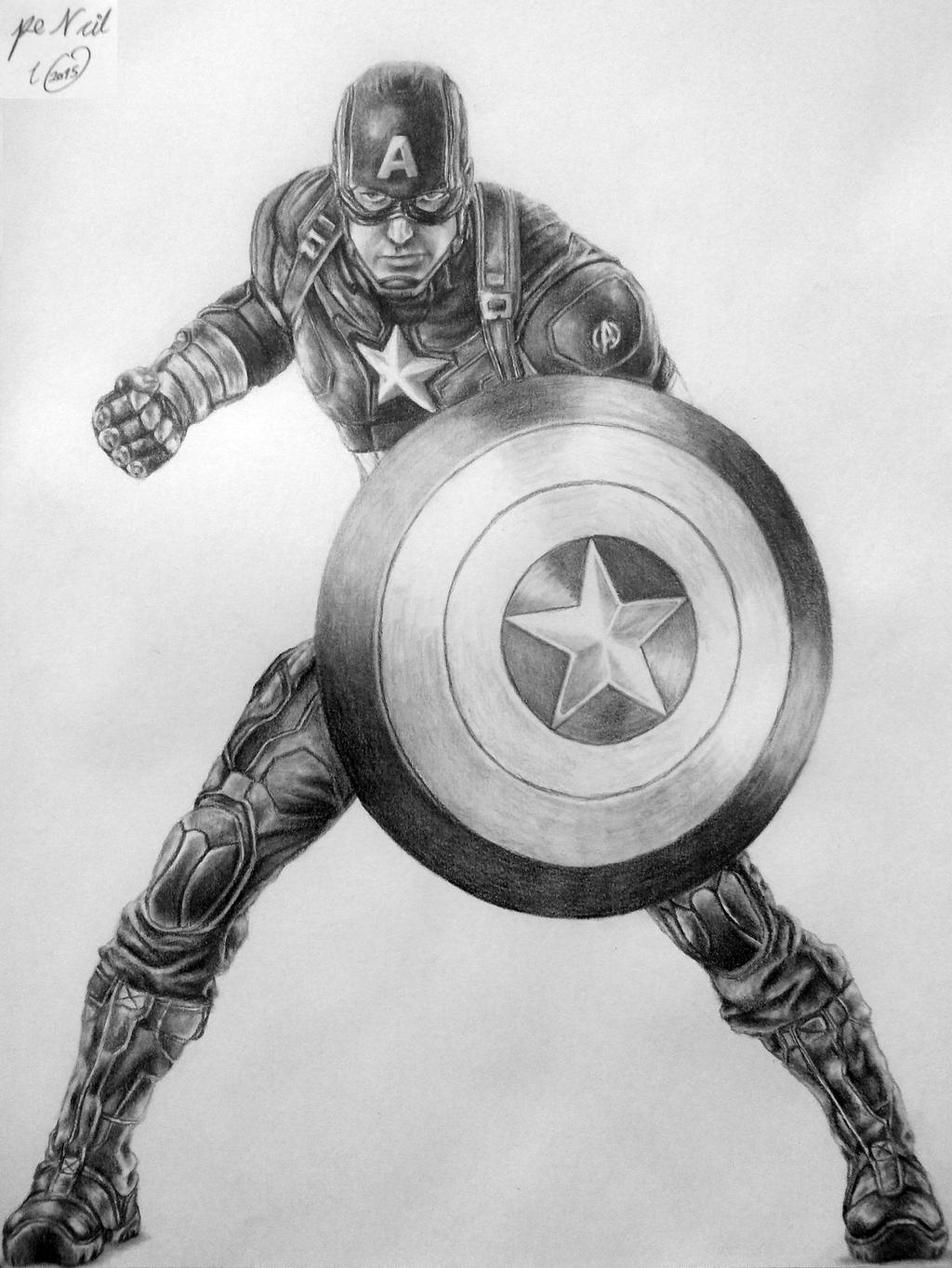 капитан америка арты простым карандашом вспомним