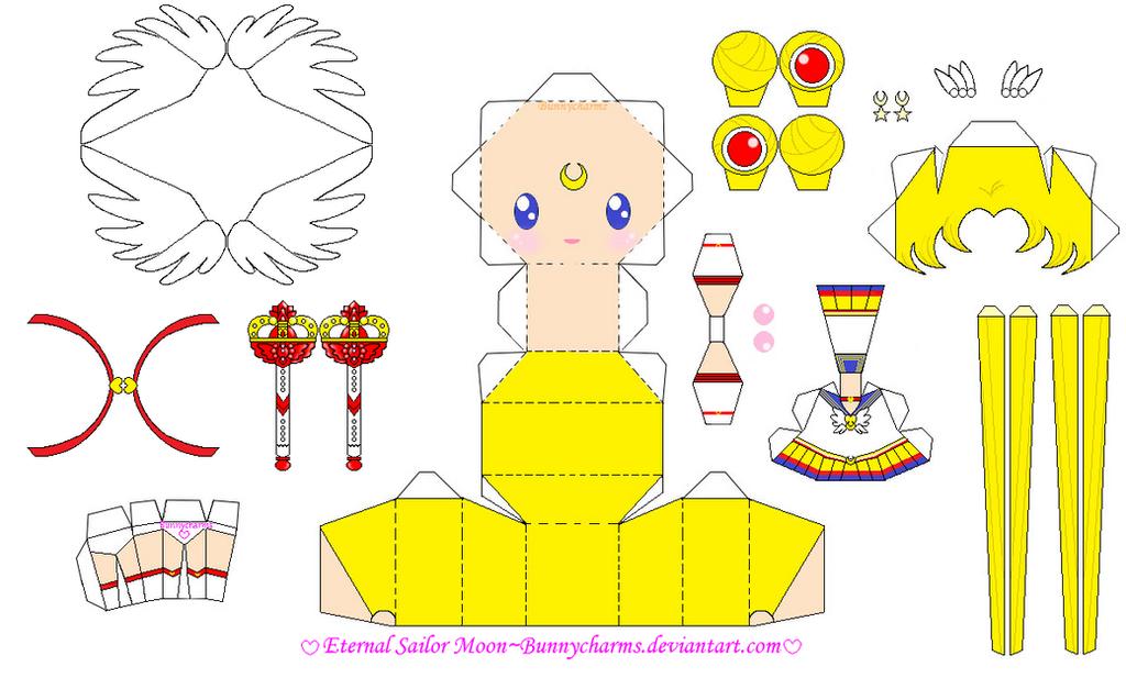 Eternal Sailor Moon Papercraft Template by bunnycharms