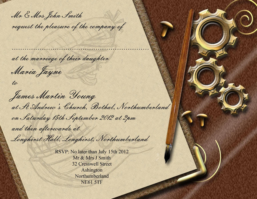 steampunk wedding invitations steampunk wedding invitation front by graphicembers on 7696