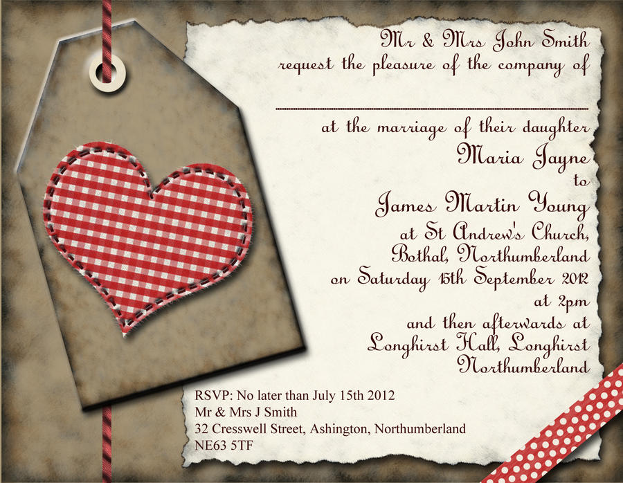 Gingham Heart Wedding Invitation By GraphicEmbers On DeviantArt