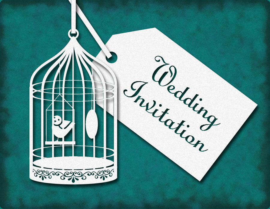 Bird Cage Wedding Invitation Reverse by GraphicEmbers