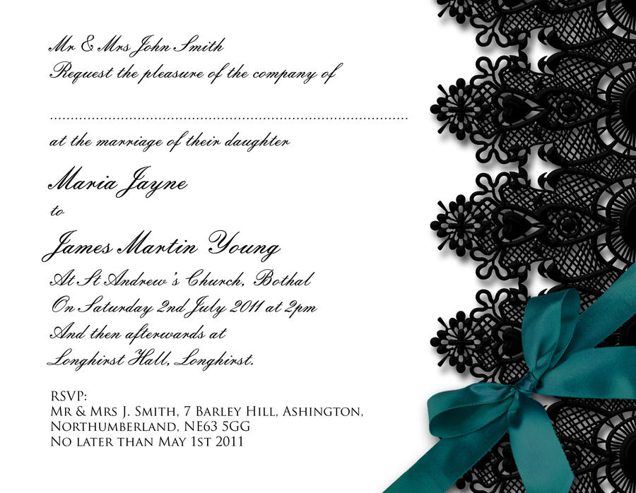 Black Lace Wedding Invitation by GraphicEmbers on DeviantArt – Black Lace Wedding Invitations