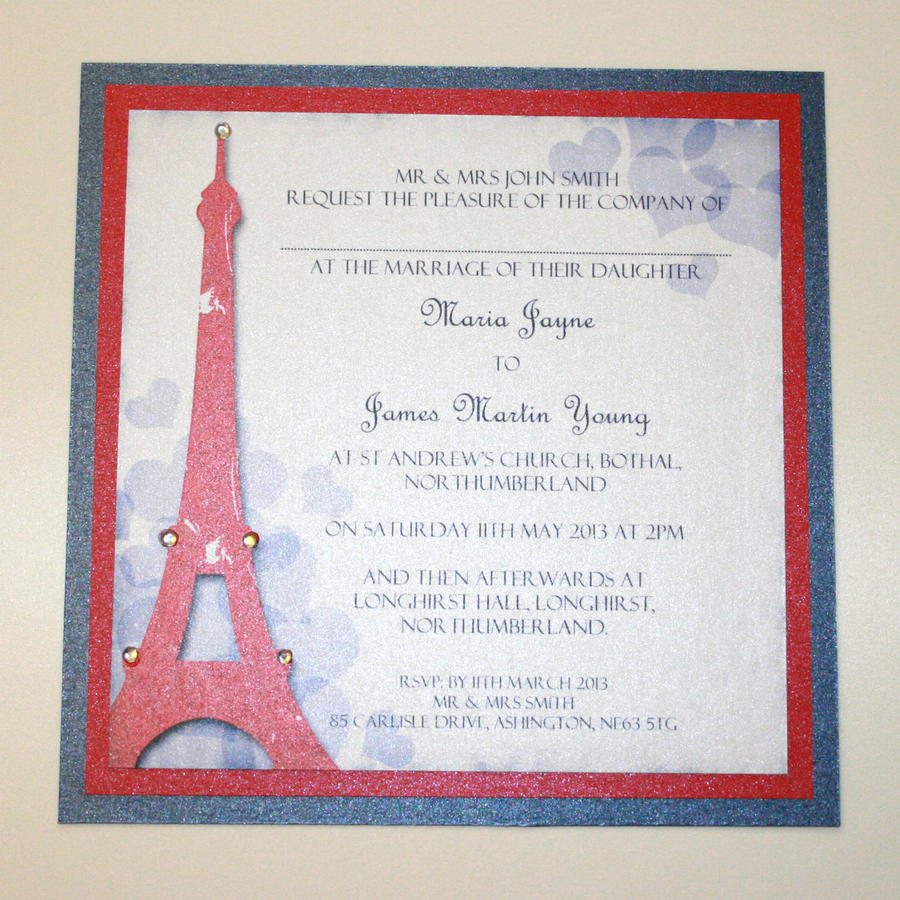 Eiffel Tower Wedding Invitations: Eiffel Tower Wedding Invitation By GraphicEmbers On DeviantArt