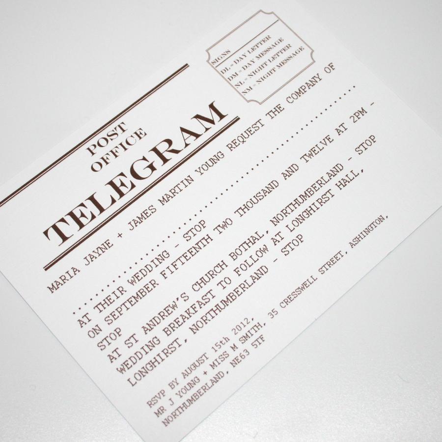 Budget Telegram Wedding Invitation By GraphicEmbers On