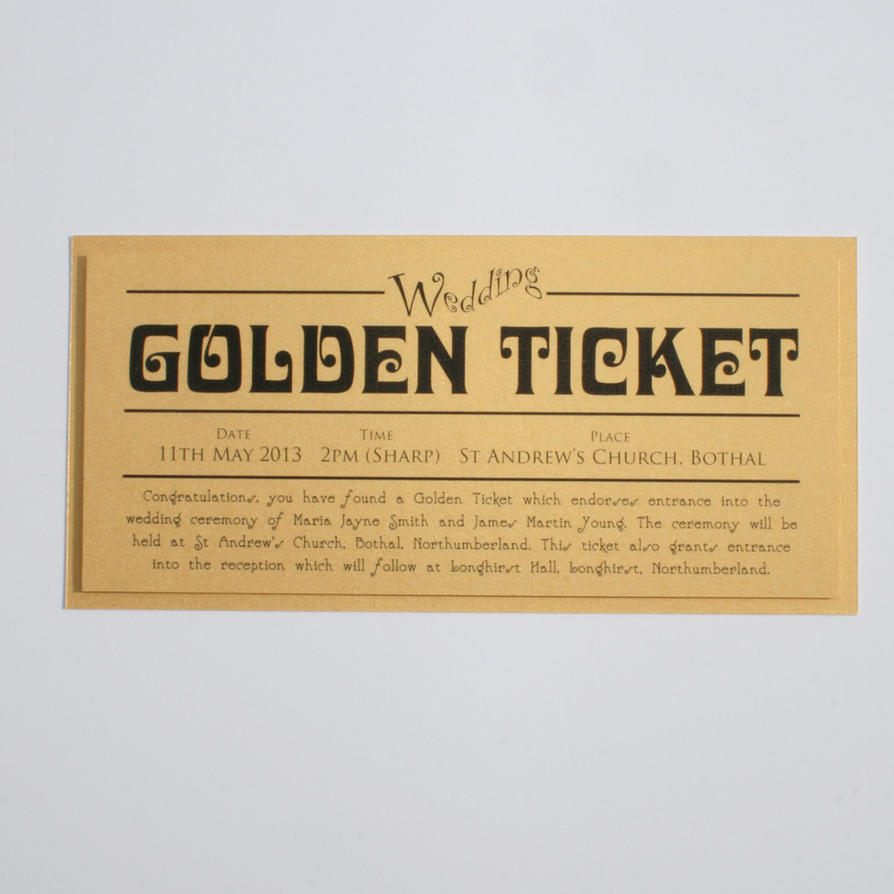 Great Golden Ticket Wedding Invitations Ideas - Invitation Card ...