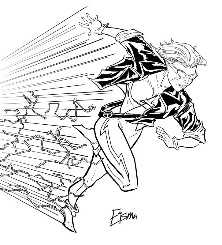 The Flash Line Art : Kid flash by supajoe