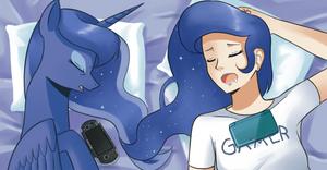 Gamer Luna's all-nighter by Sallymon